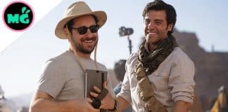JJ Abrams and Oscar Isaac on Rise of Skywalker set