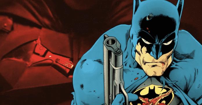 Robert Pattinson as Batman with gun